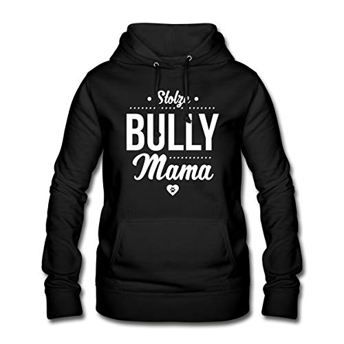 Spreadshirt Stolze Bully Mama Bulldogge Frauen Hoodie, M (38), Schwarz (Englisch Bulldog Hoodie)
