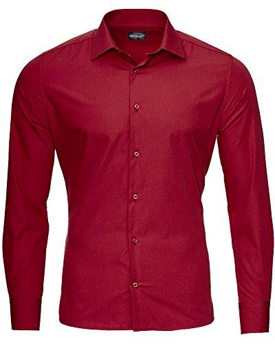 Reslad Herren Hemd Slim Fit Bügelfrei Freizeithemd Businesshemd Hochzeit Männer Hemden Anzug Uni Langarm RS-7002 Bordeaux S