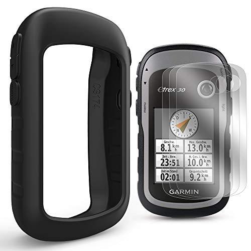 TUSITA hülle mit Displayschutzfolie für Garmin eTrex 10 20 20X 30 30X - Silikon Schutzhülle Skin - Handheld GPS Navigator Zubehör (SCHWARZ)