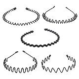 Hivexagon Serre-tête Unisexe Bandeau Accessoire de Sport, Forme différentes Vagues, 5 pièces(Noir) BT049
