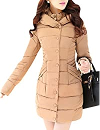 Yasong Women Girls Slim-fitted Hooded Quilted Padded Parka Puffer Jacket Winter Long Overcoat Outerwear