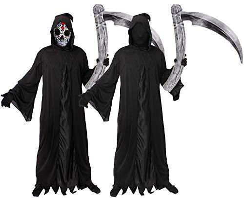 Tod Robe Kostüm Gevatter - ILOVEFANCYDRESS Halloween=GEVATTER Tod-SENSENMANN-Reaper=KOSTÜM VERKLEIDUNG=Fasching Karneval= Reaper Robe +Sugar Skull Maske + Sense /80cm+Handschuhe=Large