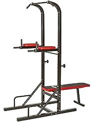 TecTake Station de musculation multifonction dips barre de traction banc d'haltère Dimensions: 180 x 95 x 210 cm