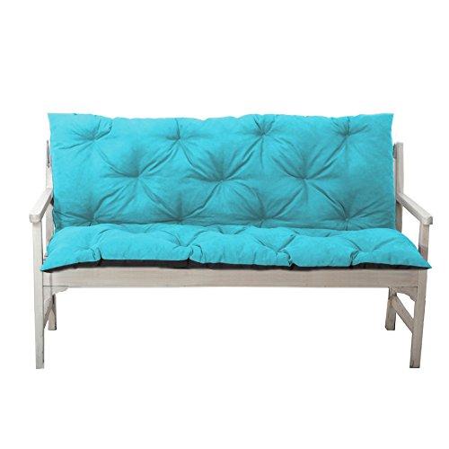 4L Textil Gartenbankauflage Bankauflage Bankkissen Sitzkissen Polsterauflage Sitzpolster (120x60x50, Türkis)