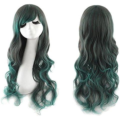 La señora mezclado marrón verde pelo largo y rizado moda Anime Upgrade versión peluca pelo degradado fiesta traje Harajuku peluca Cosplay