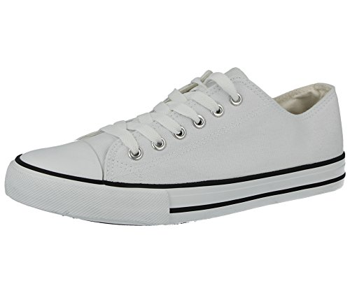 Mens Baltimore/Academy Low Top Hi Top Canvas Toe Cap Lace Up Pumps Plimsoll All Star Trainers Casual Shoes Size 6-12 (UK 10 EU 44, 626021, White)