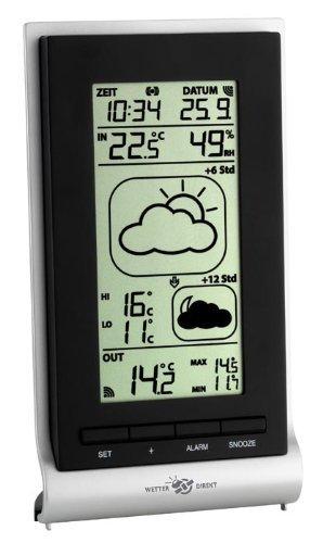 TFA Dostmann Mira satellitengestützte Funk-Wetterstation, Wetterdirekt Technologie, Profi-Wetterprognose, Sturmwarnung, lokale Außentemperatur, Innentemperatur, Luftfeuchtigkeit