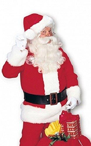 Herren Deluxe 7 Stück Plüsch Santa Weihnachtsmann Anzug Verkleidung Kleid Kostüm Outfit Größe STD & Extragroße XL - Rot, Rot, STD (38-42