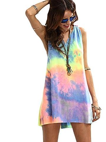 ROMWE Damen Tie-Dye Strandkleid V Ausschnitt Regenbogen Farbstoff mit Knotendetails Ärmellos Sommerkleid Tankkleid Bunt S