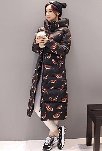 Smile YKK Manteau Long Femme Veste Capuche Automne Hiver Manche Longue Blouson Casual Noir