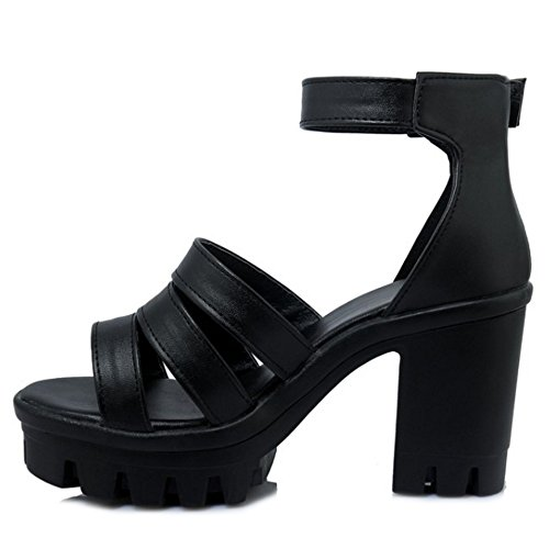 COOLCEPT Damen Mode Knochelriemchen Sandalen Open Toe Blockabsatz Plateau Schuhe Schwarz