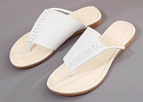 Mme sandales dété des sandales tong talon plat suture voiture de plage Chaussures White