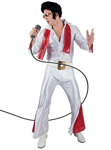 Größen 50/52 weiß | Elvis Presley Verkleidung 2-Teiler ~ Shirt, Hose & viel Zubehör ~ Disco-Kostüm / Rock n Roll / Rockabilly Jumpsuit ~ Rockstar 50er Jahre Outfit - 100% Polyester (Disco Jumpsuit)