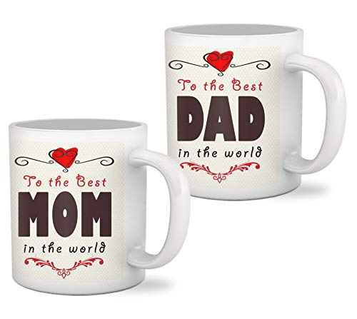 Tied Ribbons to The Best Mom Dad in The World Printed Set of 2 Coffee Mug(320ml)