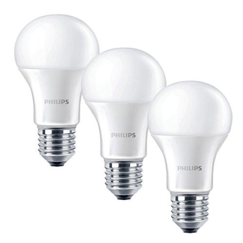 Philips E27 Edison Screw Light Bulb, 9 W - Warm White, 2700K, Pack of 3 [Energy Class A+] -
