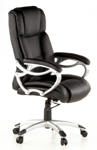 Buy hjh OFFICE, 668400, Executive Chair, office chair, swivel, TRITON 400, black, faux leather, high ergonomic thick padded backrest and seat, padded armrests, relining mechanism, elegant, stylish computer desk chair, synthetic designer base silver on Line
