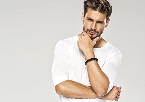 Paul Weston 884 • Bracelet Homme Perle Noire • Bracelet Homme Cuir Tressé Noir • 100% Matériaux naturels - Boite Cadeau noir • Garantie de 12 mois • Conçu con ❤ à Zurich • Qualité Suisse