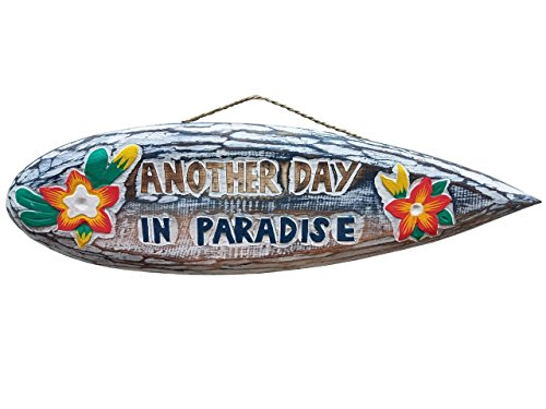 Bamboo Beach Tiki Bar (Alle Seas importen 50,8x 15,2cm handgeschnitzten & Lackiert Used-Look Holz Another Day in Paradise mit Blumen Surfbrett Wanddekoration.)
