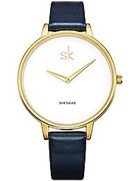 SHENGKE K0046L señoras reloj elegante reloj analógico de cuarzo azul profundo correa de cuero genuino reloj de pulsera de oro Reloj de pulsera