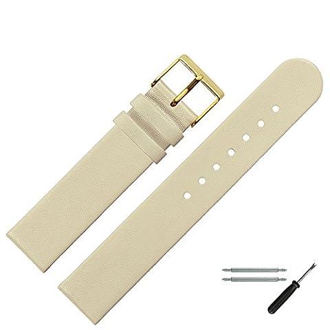 Uhrenarmband 20 mm Leder beige glatt - inkl. Federstege & Werkzeug - Ersatzband für Uhren - Uhrband mit Schlaufe - Marburger Uhrenarmbänder seit 1945 - beige / gold