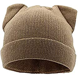 chenqi Sombrero de Mujer Orejas de Gato Gorros de Invierno de Punto Calientes Casuales Casquillos para Mujeres niñas