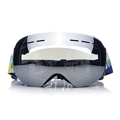 LYLhmj Skibrille Outdoor-Sport Snowboard-Schutzbrillen mit Anti-Nebel UV-Schutz Austauschbare sphärische rahmenlose Linse, winddicht Ski-Schutzbrillen für Motorrad Fahrrad Skifahren Skaten (Silber)