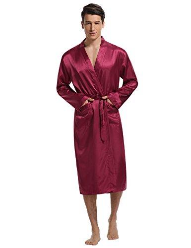 Aibrou Herren Morgenmantel Bademantel Lang Satin Nachtwäsche Kimono Sleepwear V Ausschnitt mit Gürtel Rot L