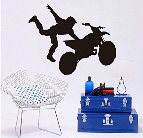 Aufkleber Der Wand 3Dextreme Sport Motorrad Akrobatik Leistung Silhouette Wandaufkleber Kunst Vinyl Freestyle Motocross Wohnzimmer 70X58 Cm