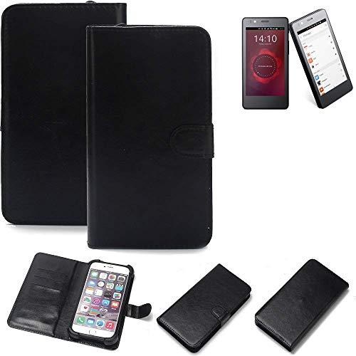 K-S-Trade Wallet Case Handyhülle für BQ Readers Aquaris E4.5 Ubuntu Edition Schutz Hülle Smartphone Flip Cover Flipstyle Tasche Schutzhülle Flipcover Slim Bumper schwarz, 1x