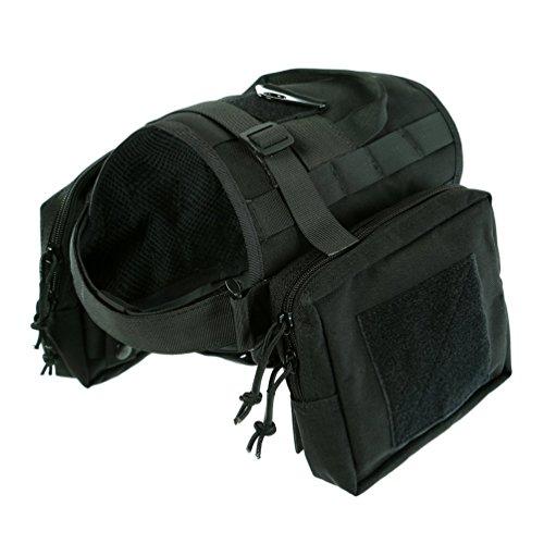 Yisibo addestramento per cani con Molle Tactical-Gilet in Nylon, cinghie Kit-Giubbotto per cani e animali domestici, con 2 astucci staccabile M nero