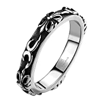 LuremeŽ Punk Retro Ancient Maya Biker Gothic Chrome Hearts Style Stainless Steel Silver Black Band Ring for Unisex (04001142-parent) (8)