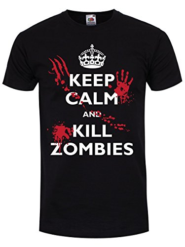 T-Shirt Keep Calm and Kill Zombies da uomo in nero