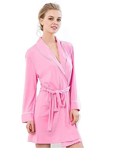 Soft Knit Langarm (Bademäntel Womens Soft Knit Nachtwäsche Kimono Kragen Long Lounge Wear Langarm Nachtwäsche, Für All Seasons Spa Hotel Pool Nachtwäsche S-XL,Rosered,XL)
