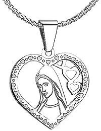 8195c28d0293 BOBIJOO Jewelry - Pendentif Médaille Vierge Marie Coeur Amour Acier Argenté  Communion + Chaîne