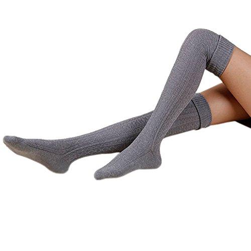 Cindeyar 1 Paar Damen Winter Overknee Strümpfe Lange Kniestrümpfe Retro Schüler Überknie Strick Socken (Hellgrau)