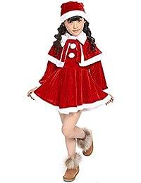 Kword Bambino Outfit Natale Set, Bambini Bambine Natale Vestiti Costume Partito Abiti + Scialle + Cappello Vestito