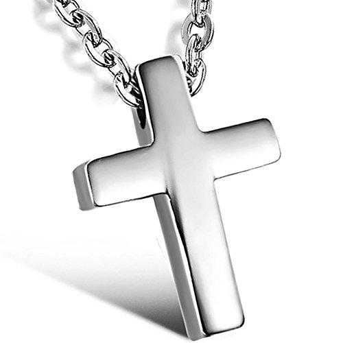 Muttertagsgeschenke Oidea Damen Halskette mit Anhänger, Hoch Poliert Edelstahl Kreuz Kruzifix Anhänger Halskette, Silber