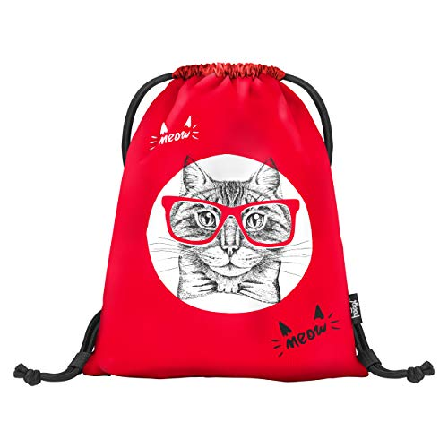 Baagl Turnbeutel für Mädchen und Damen - wasserdichte Schuhbeutel, Schule und Kindergarten Sportbeutel, Sportrucksack (Cat)