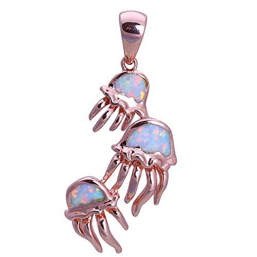 le weiß Opal Rose Gold Farbe Anhänger Fashion Jewelry ops722 (Quallen Kostüme Für Erwachsene)