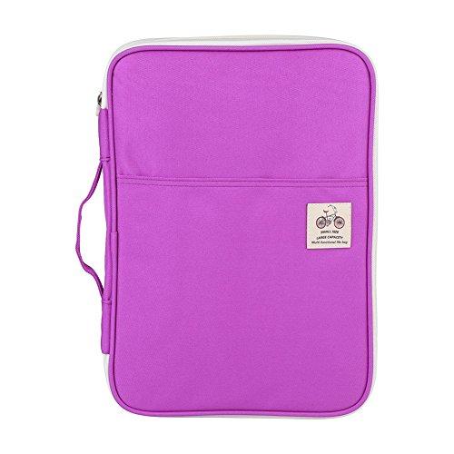 5 Farben funktionale A4 Dokumententasche Aktenordner Portfolio Organizer Computer Notebook mit Reißverschluss Fall(purpur)