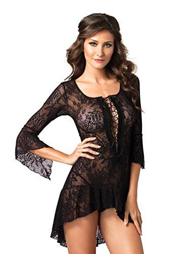 Leg Avenue 8050 - 2Tl. Lace Flair Ärmel Kleid Mit Passende G-String Schwarz Dessous Damen Reizwäsche, Einheitsgröße (EUR 36-40)