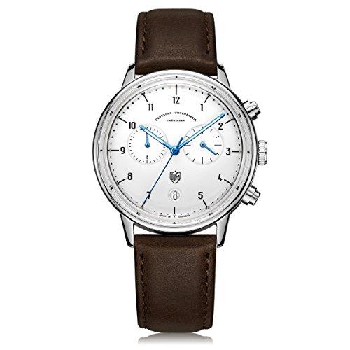DuFa Unisex Chronograph Quarz Uhr mit Leder Armband DF-9003-02