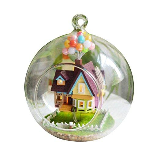TOYMYTOY DIY Haus Glas Ball Miniatur Puppenhaus Kit kreative Hängende Holz Zimmer mit Möbel Modell Valentines Geschenk