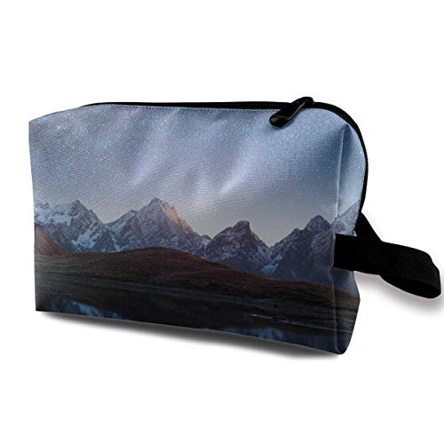 Night Sky with Milky Way Over A Mountain Travel Toiletries Bag Sturdy Organizer Cosmetic Handbag for Women Men Portable Snap Dome