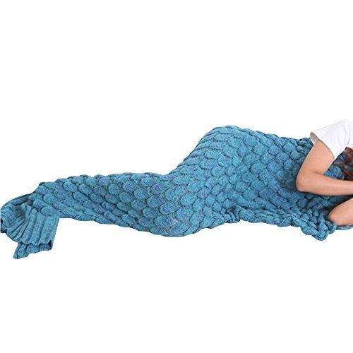 Meerjungfrau Decke Bay Sands Clover, handgemachte Mermaid Schwanz Stil Blanket Sofa Schlafdecke, Haushaltsartikel Schlafdecke, weiche Mermaid Schwanz Schlafsack für Kinder und Erwachsene 74.8 * 35.43 Zoll (Blau)