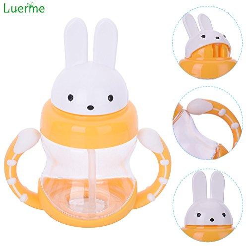 240ml Baby Trinkflasche, Luerme Kinder Strohhalm Wasserflasche Flip Kaninchen Kappe Trinklernflasche Trinklernbecher mit Rutschfest Handgriff