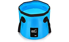 •Aisoul Premium Collapsible Bucket Portable Folding Bucket Wash Basin for Traveling Hiking Fishing Boating Gardening (Blue, 20L)