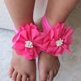NgratyhJohn Bandeau pour femme et fille, 3 pièces pour pieds de bébé, sandales pieds nus en ruban élastique doux pour décoration de cheveux – 9#