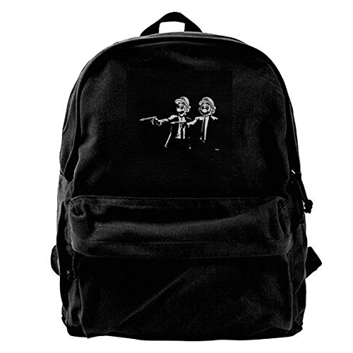 YANNAN Canvas Backpack Su-per Ma-Rio Brothers Pulp Fiction Rucksack Gym Hiking Laptop Shoulder Bag Daypack for Men Women