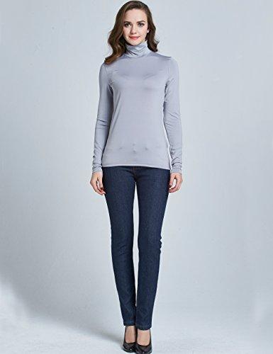 Camii Mia Donna T-Shirt Casual Blusa Manica Lunga Collo a O Tee Grigio